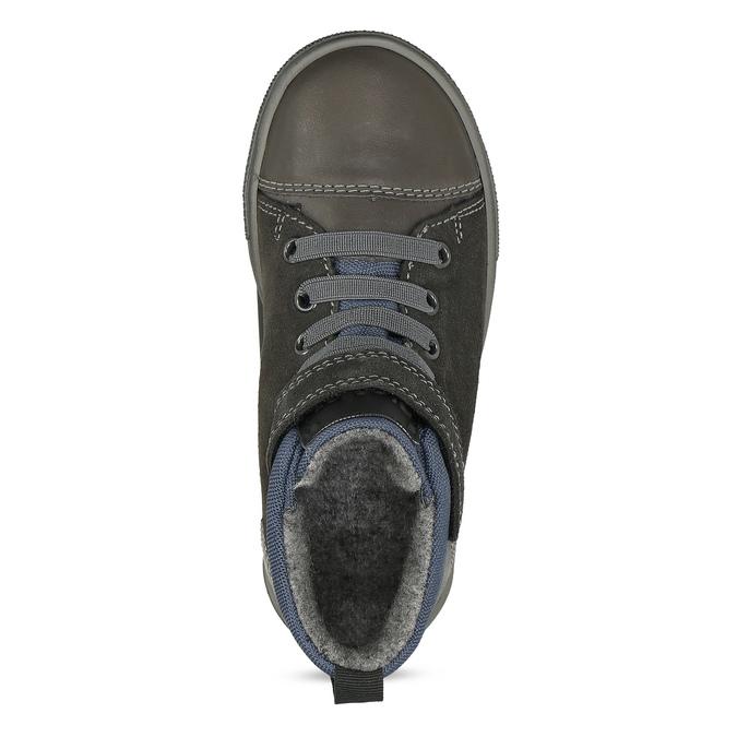 Šedá dětská kotníčková obuv z broušené kůže richter, šedá, 216-2600 - 17