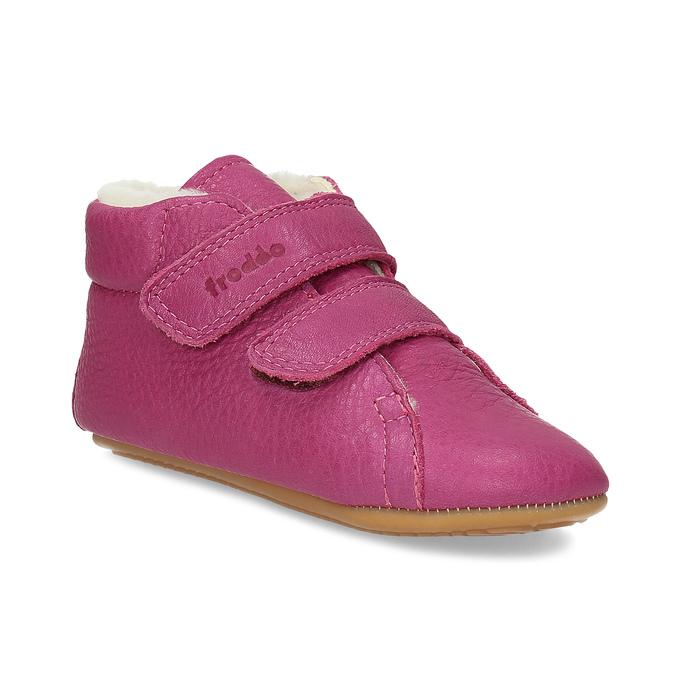 Růžová kožená dětská zimní obuv froddo, růžová, 124-5606 - 13