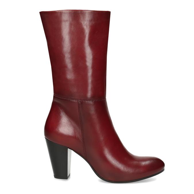 Kožené dámské kozačky vínové bata, červená, 694-5615 - 19