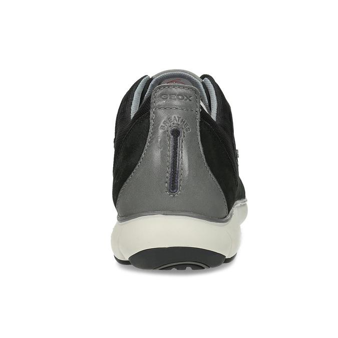 Pánské černé tenisky z broušené kůže geox, černá, 846-6815 - 15