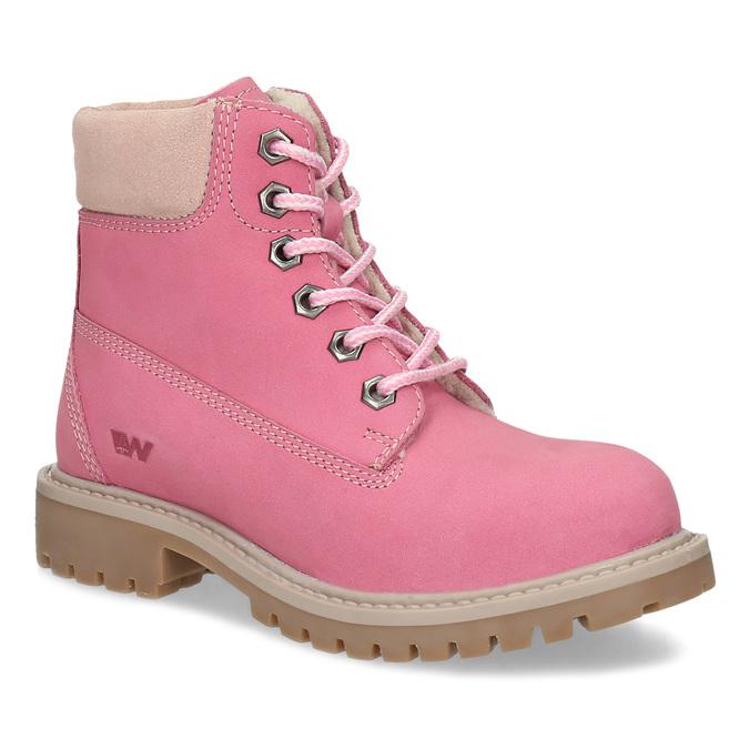 Dětské růžové kožené Worker Boots weinbrenner, růžová, 296-5604 - 13