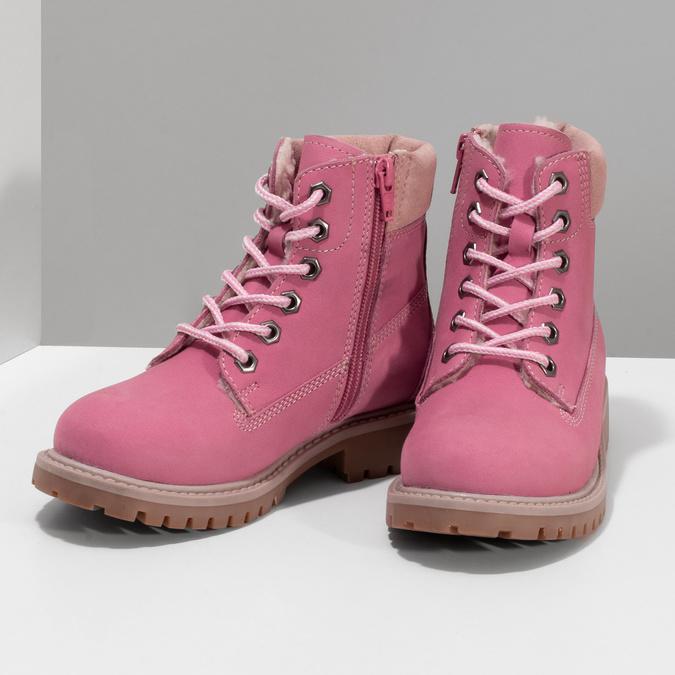 Dětské růžové kožené Worker Boots weinbrenner, růžová, 296-5604 - 16