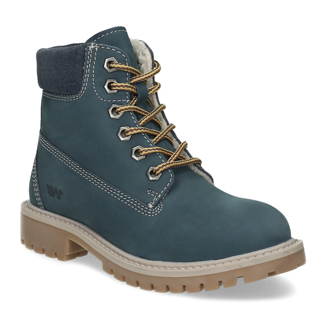 Dětské modré kožené Worker Boots weinbrenner, modrá, 296-9604 - 13
