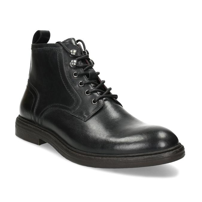 Pánská černá kožená kotníčková obuv bata, černá, 824-6612 - 13