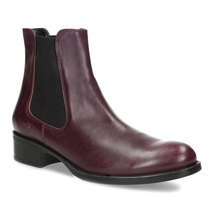 Dámská vínová kožená Chelsea obuv bata, červená, 594-5448 - 13