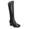 Černé kožené kozačky na stabilním podpatku bata, černá, 694-6606 - 13