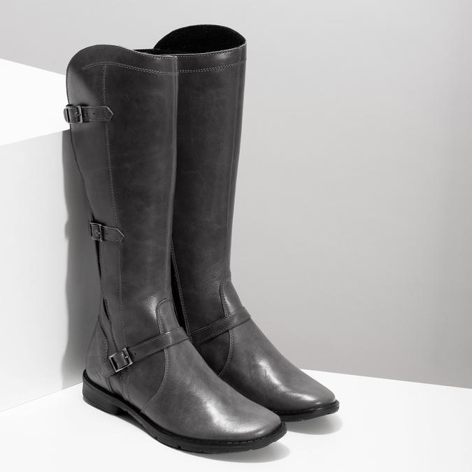 Šedé dámské kožené kozačky s přezkami bata, šedá, 596-2608 - 26