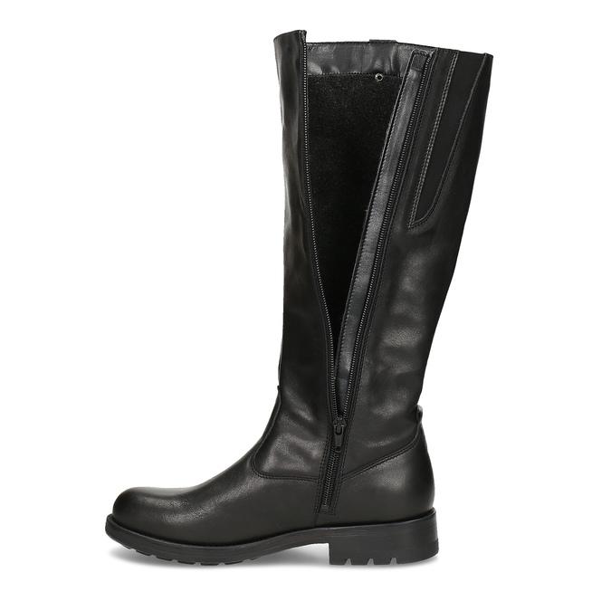Černé dámské kožené kozačky bata, černá, 594-6689 - 17