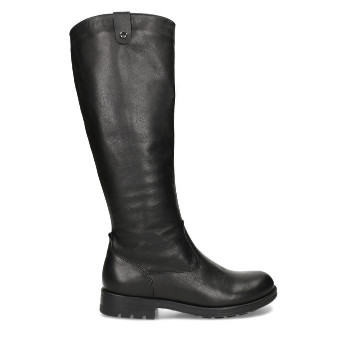 Černé dámské kožené kozačky bata, černá, 594-6689 - 19