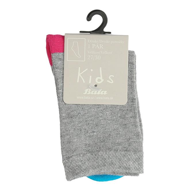 Šedé dětské ponožky s barevnými detaily bata, šedá, 919-2685 - 13