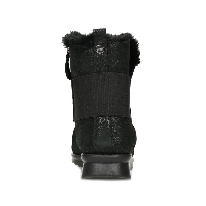 Černé dámské kožené kozačky se třpytkami comfit, černá, 596-6601 - 15