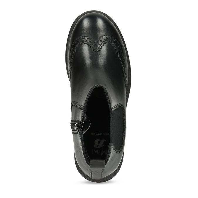 Dětská kožená kotníčková Chelsea obuv mini-b, černá, 394-6610 - 17