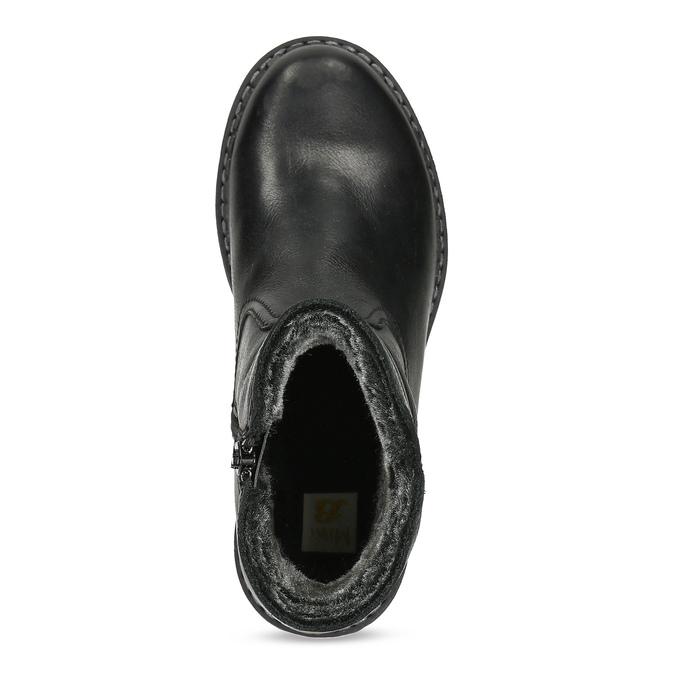 Dětské černá kožená kotníčková obuv s prošitím mini-b, černá, 396-6605 - 17