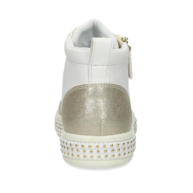 Bílé dámské kožené tenisky s kovovými cvočky geox, bílá, 546-1511 - 15