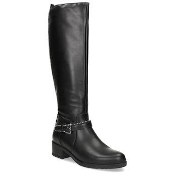 Černé kožené kozačky s přezkou bata, černá, 594-6666 - 13