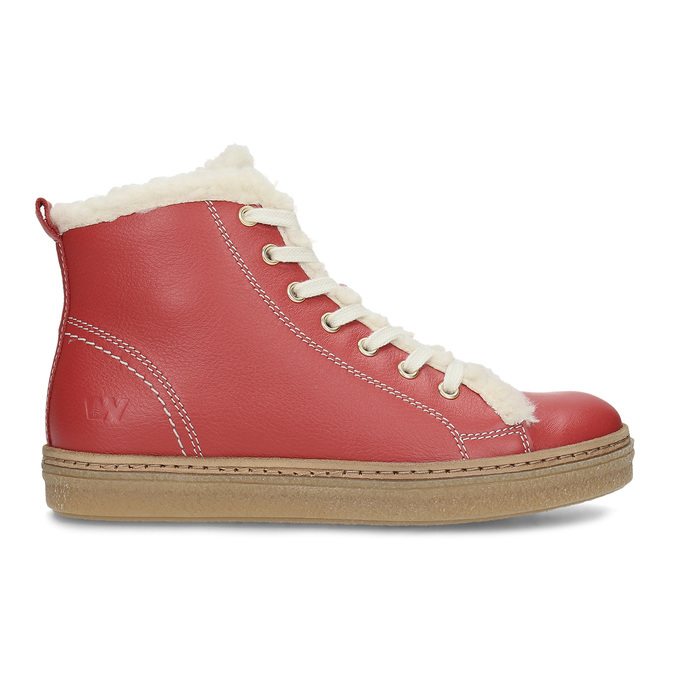 Kožená červená kotníčková obuv se zateplením weinbrenner, červená, 594-5600 - 19