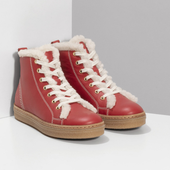 Kožená červená kotníčková obuv se zateplením weinbrenner, červená, 594-5600 - 26