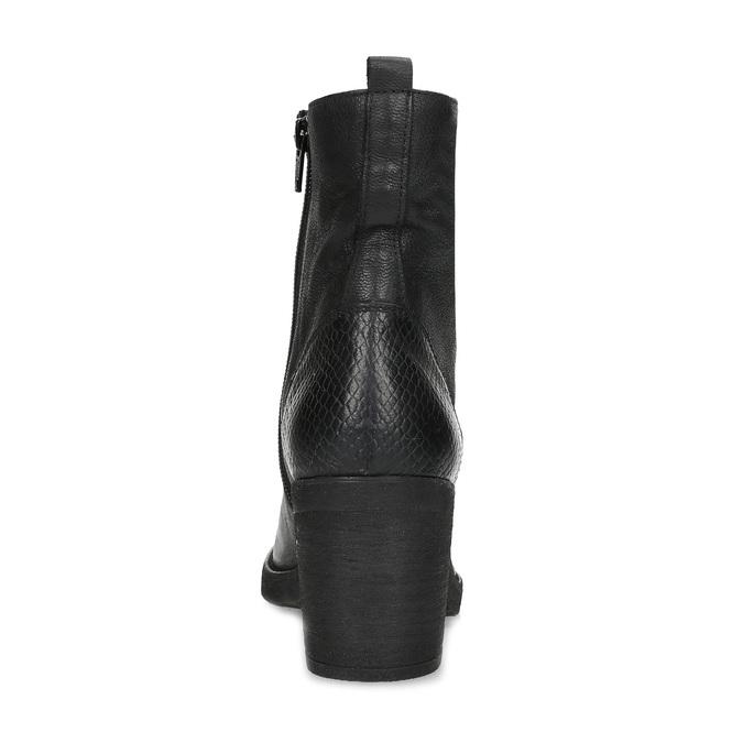 Kožené černé kozačky na stabilním podpatku bata, černá, 794-6618 - 15
