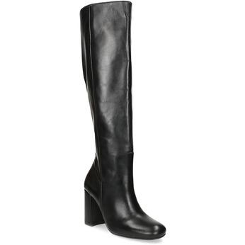 Černé kožené kozačky na stabilním podpatku bata, černá, 794-6624 - 13