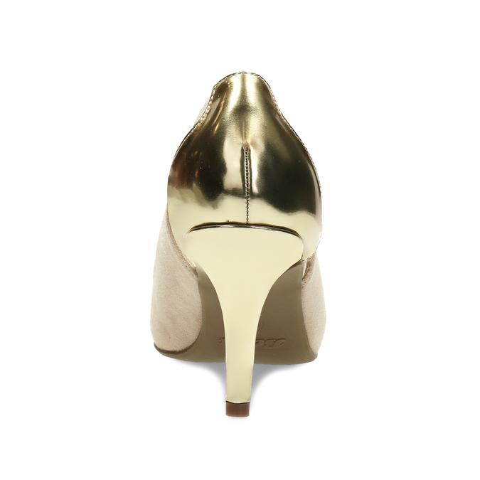 Béžové dámské lodičky se zlatou patou bata, béžová, 729-8621 - 15