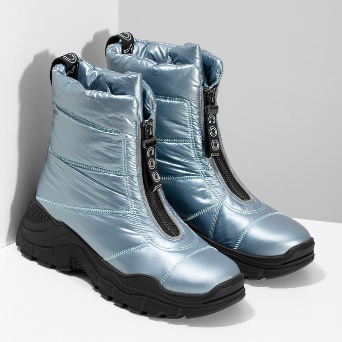 Dámské modré metalické sněhule se zipem bata, modrá, 591-9650 - 26