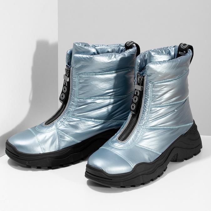 Dámské modré metalické sněhule se zipem bata, modrá, 591-9650 - 16