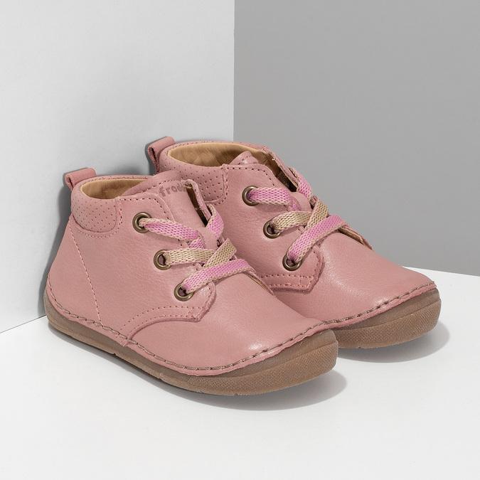 Dětská růžová kotníčková kožená obuv froddo, růžová, 124-5607 - 26