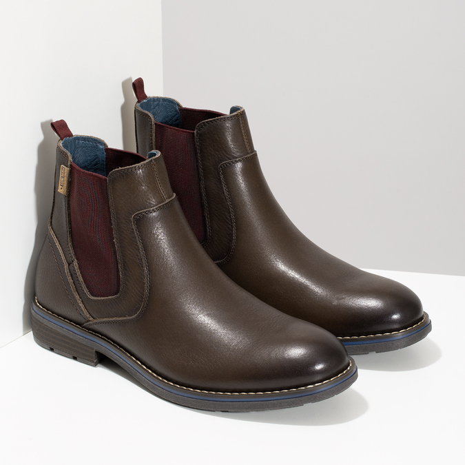 Kožená pánská kotníčková Chelsea obuv pikolinos, hnědá, 896-4816 - 26