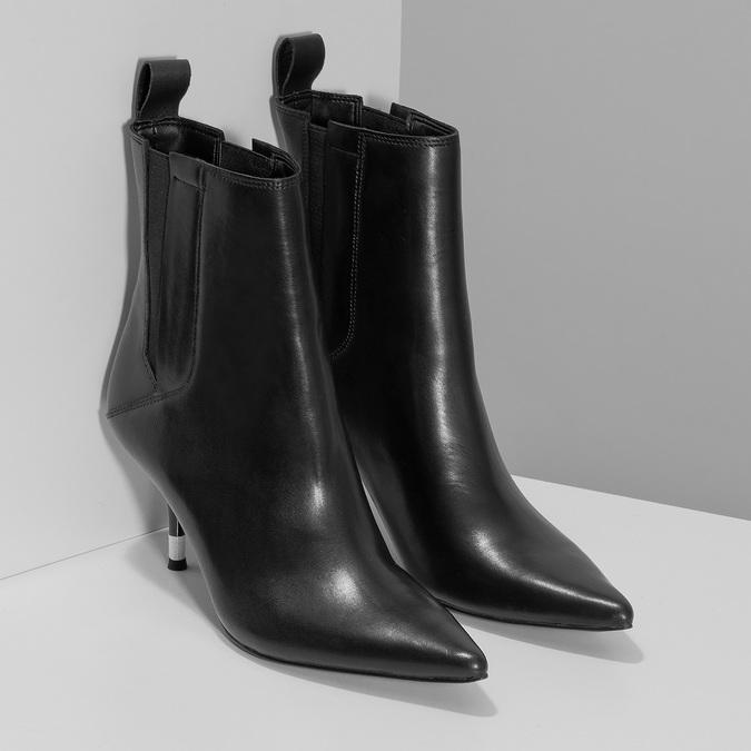 Dámské černé kožené kotníčkové kozačky calvin-klein, černá, 694-6558 - 26