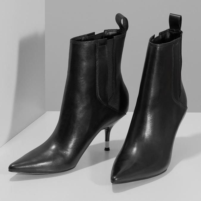 Dámské černé kožené kotníčkové kozačky calvin-klein, černá, 694-6558 - 16