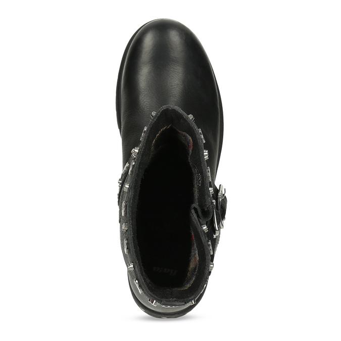 Kožené černé kozačky s kovovými cvoky bata, černá, 596-6606 - 17