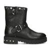 Kožené černé kozačky s kovovými cvoky bata, černá, 596-6606 - 19