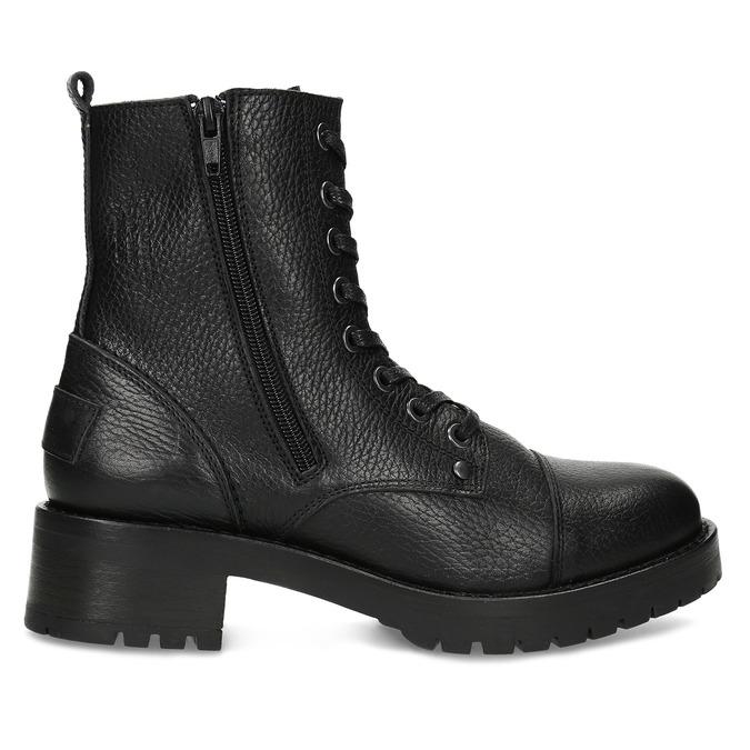 Černá dámská kožená šněrovací obuv bata, černá, 594-6618 - 19
