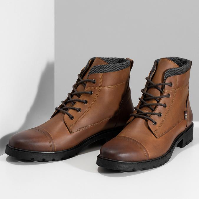 Hnědá pánská kožená kotníčková obuv bata, hnědá, 896-3764 - 16