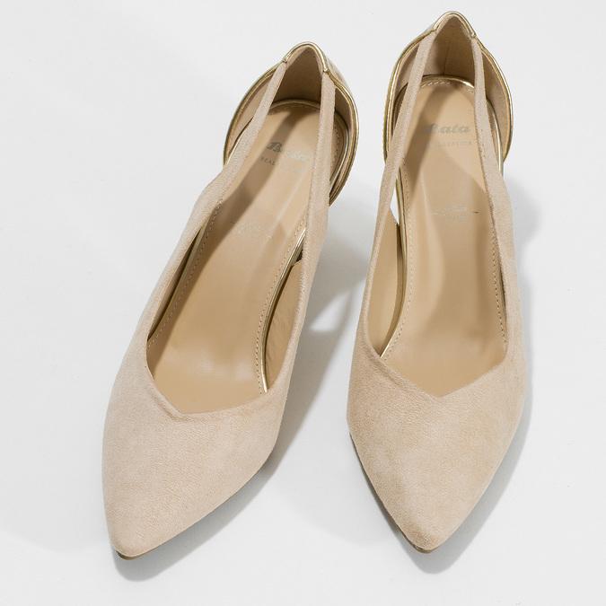 Béžové dámské lodičky se zlatou patou bata, béžová, 729-8621 - 16
