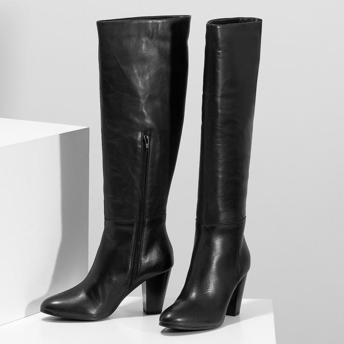Černé kožené kozačky na stabilním podpatku bata, černá, 694-6614 - 16