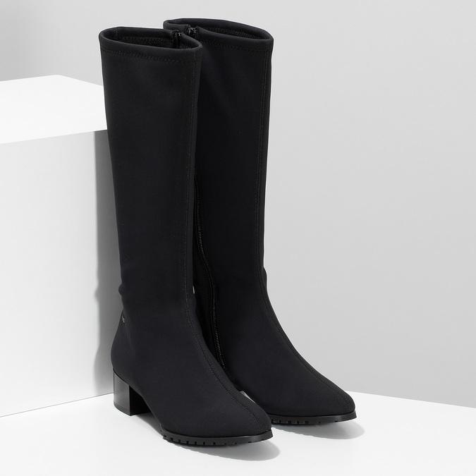 Černé dámské kozačky na stabilním podpatku hogl, černá, 699-6103 - 26