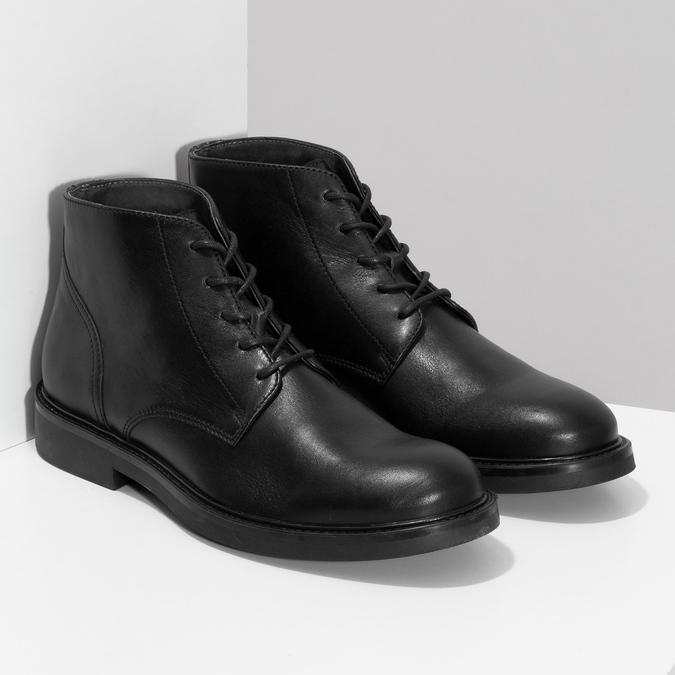 Pánská černá kožená kotníčková obuv bata, černá, 894-6705 - 26