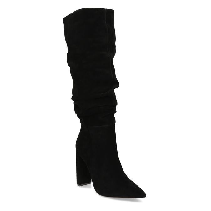 Černé dámské kozačky z broušené kůže steve-madden, černá, 793-6712 - 13
