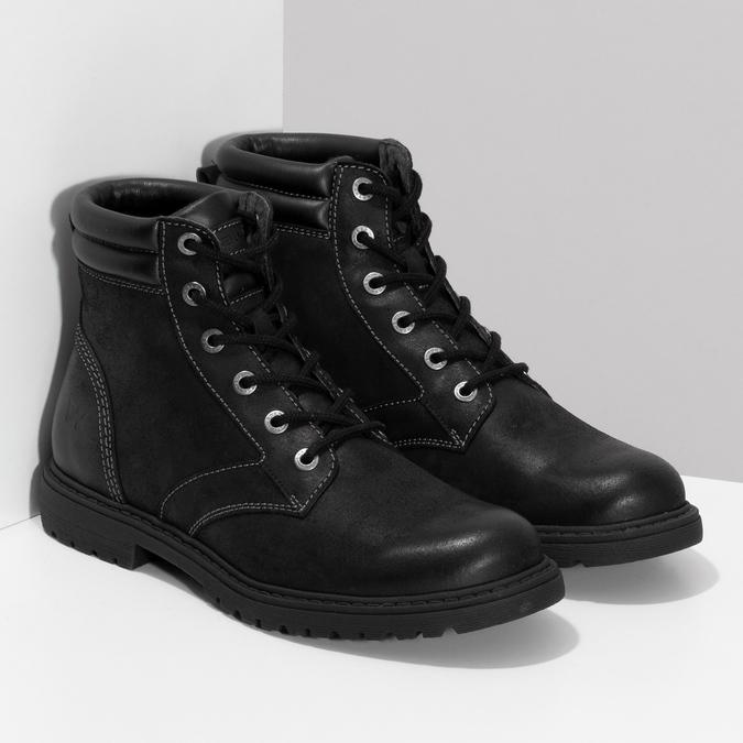 Černá kožená kotníčková obuv s prošitím weinbrenner, černá, 896-6693 - 26