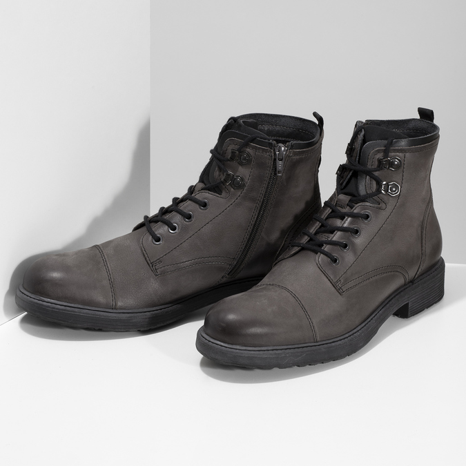 Kožená pánská kotníčková obuv bata, hnědá, 896-4752 - 16
