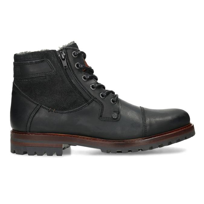 Černá pánská kožená kotníčková obuv bata, černá, 896-6747 - 19