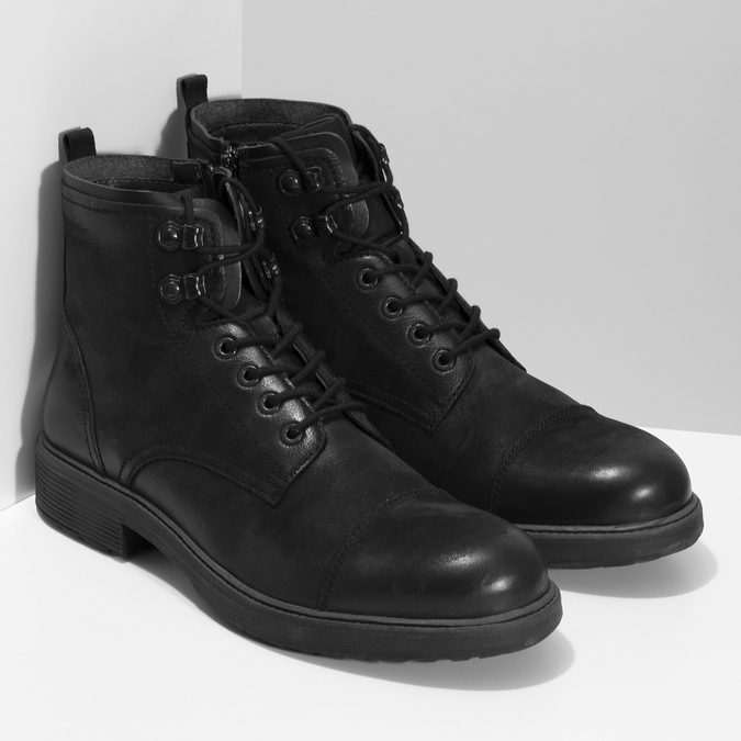 Pánská černá kožená kotníčková obuv bata, černá, 896-6752 - 26