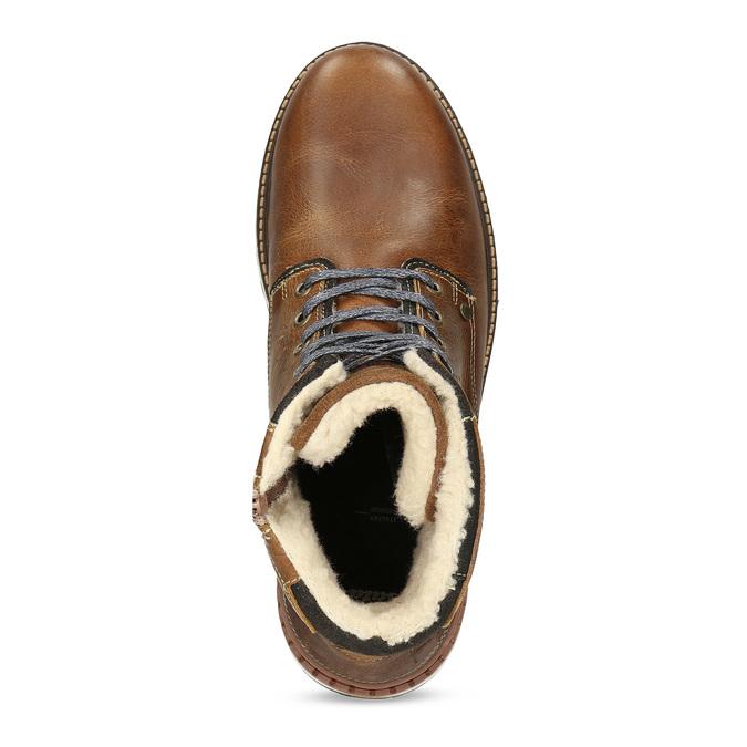 Hnědá pánská kožená zimní obuv bata, hnědá, 896-3746 - 17