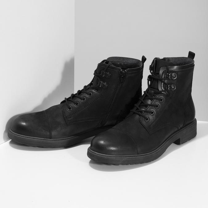 Pánská černá kožená kotníčková obuv bata, černá, 896-6752 - 16
