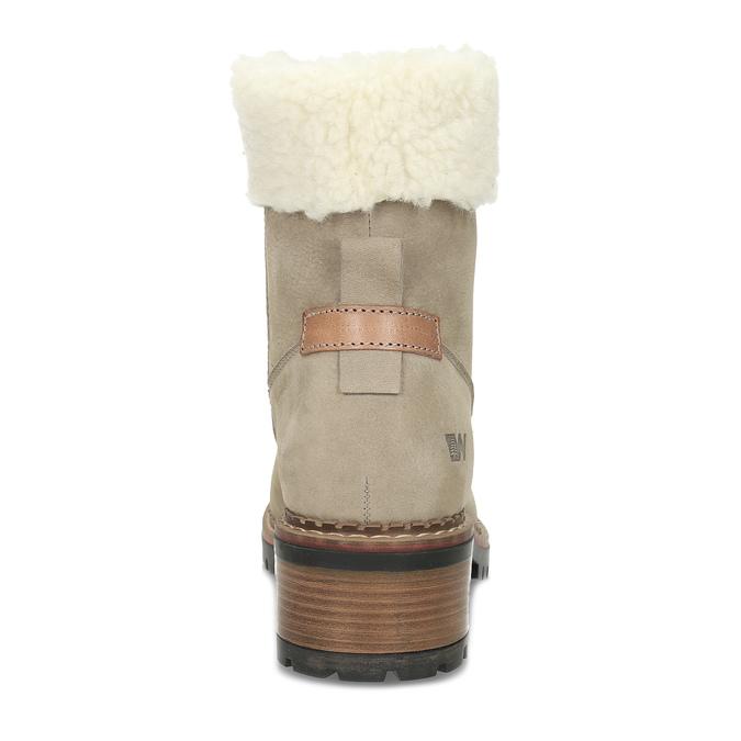 Béžové kožené kozačky se zateplením weinbrenner, béžová, 596-8607 - 15