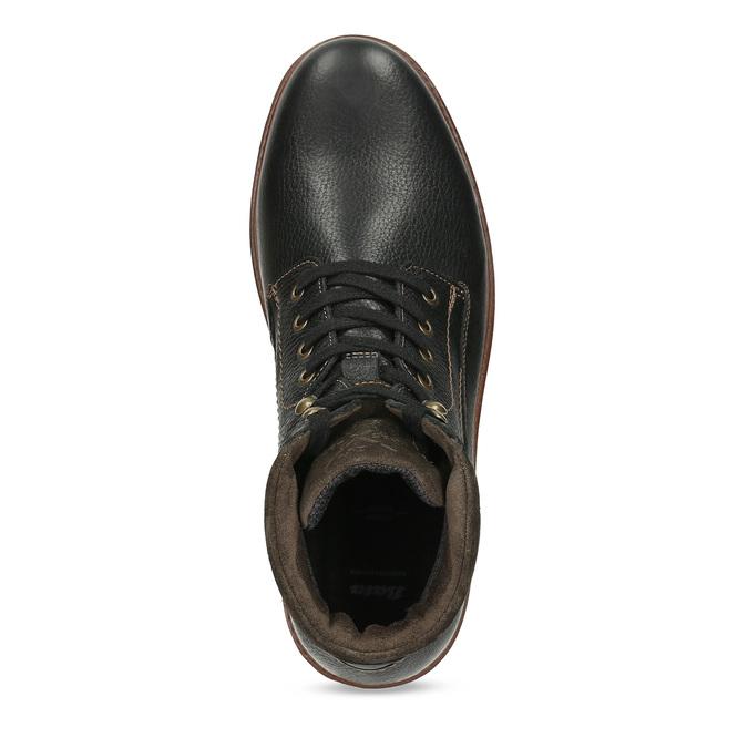 Kotníčková pánská kožená zimní obuv bata, černá, 894-6760 - 17