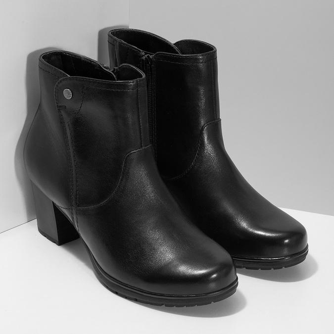 Černé kožené kotníčkové kozačky bata, černá, 694-6604 - 26