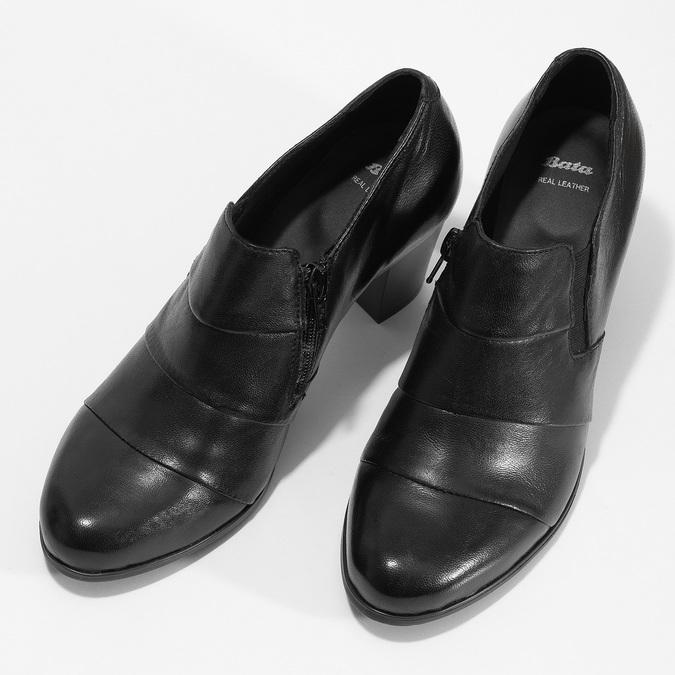 Kotníčková kožená obuv s prošitím bata, černá, 694-6609 - 16