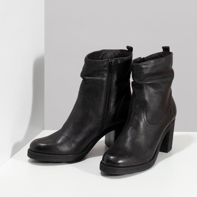 Kožené černé kozačky na stabilním podpatku bata, černá, 794-6618 - 16